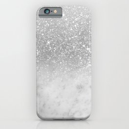 White Marble Silver Ombre Glitter Glam #1 #shiny #gem #decor #art #society6 iPhone Case
