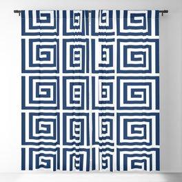 Greek Key Pattern 125 Navy Blue Blackout Curtain