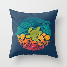 Aquatic Rainbow Throw Pillow