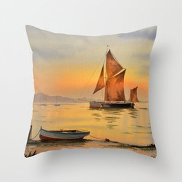 Thames Barge At Sunset Throw Pillow