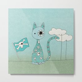 Sweet Blue Pirate Cat Metal Print
