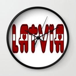 Latvia Font with Latvian Flag Wall Clock