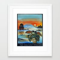 gremlins Framed Art Prints featuring The NZ Sanctuary For Gremlins by Tony Heath