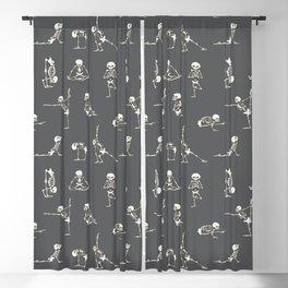 Skeleton Yoga_Gray Blackout Curtain