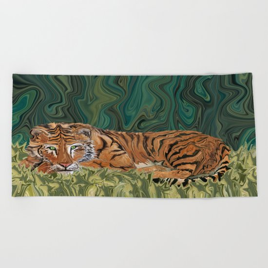 Tiger's Sunday Serendipity  Beach Towel
