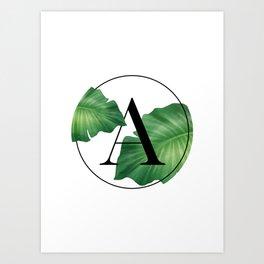 Monogram Leafs - Letter A Art Print
