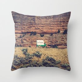 Utah Conestoga wagon State Line Welcome Center Mountain Throw Pillow
