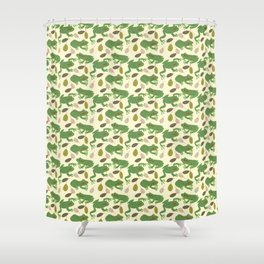 Fun Frogs with Leaves from Trees Shower Curtain