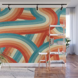 Red, Orange, Blue and Cream 70's Style Rainbow Stripes Wall Mural