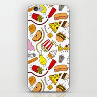 junk food iPhone & iPod Skins featuring Junk food doodle by Waffleme & Co.