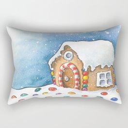 Gingerbread house watercolour illustration Rectangular Pillow