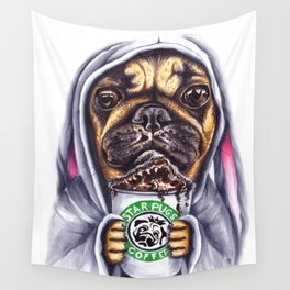 Pug drinking coffee Wall Tapestry