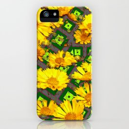 Rich Golden Yellow  Coreopsis Flowers Green Modern Art iPhone Case