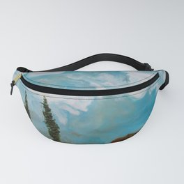 Cypress Trees encaustic wax painting by Seasons Kaz Sparks Fanny Pack