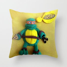 Orange mask turtle Throw Pillow