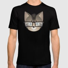 Tabby Glasses Mens Fitted Tee Black SMALL