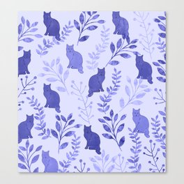 Watercolor Floral and Cat VII Canvas Print