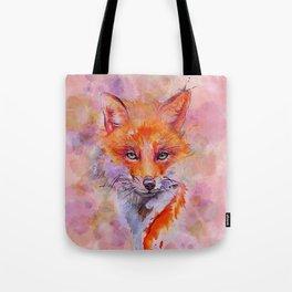 Watercolor colorful Fox Tote Bag