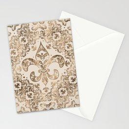 Fleur-de-lis Ornament - pastel gold Stationery Cards