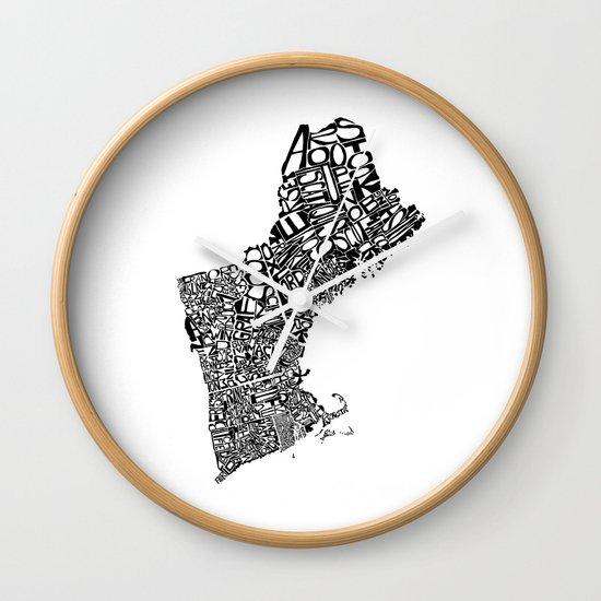 Typographic New England Wall Clock