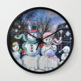 Snowman Family Wall Clock