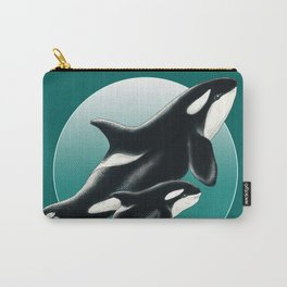 Two Orca Whale Family Teal Aqua Carry-All Pouch