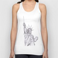c3po Tank Tops featuring C3PO Liberty by ronnie mcneil