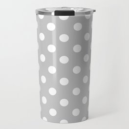 Polka Dots (White & Gray Pattern) Travel Mug