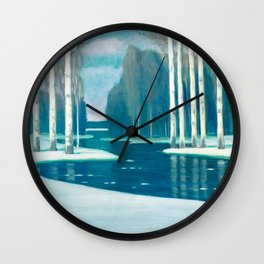 Birch Trees by a River by Vilhelms Purvītis - Latvian Lettish Fine Art - Purvitis Wall Clock