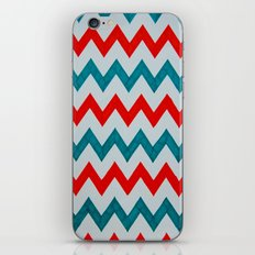 Red and Teal Chevron  iPhone & iPod Skin