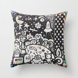 doodle en folie Throw Pillow