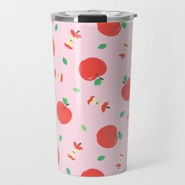 Cute Apple Seamless Pattern with Pink Background Travel Mug
