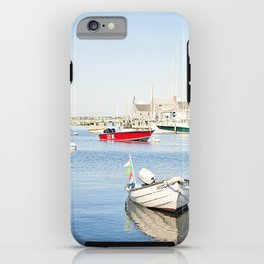 Boats Reflecting in Harbor in Nantucket iPhone Case
