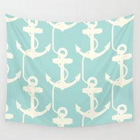 anchors Wall Tapestries featuring Anchors Away! by PatternInk