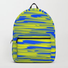 Running luxury yellow scribble of art waves and light blue highlights. Backpack