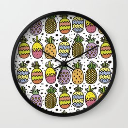 Crazy Pineapples Wall Clock