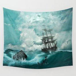 Storm Sea Ship Shipwreck Ocean Blue Wall Tapestry