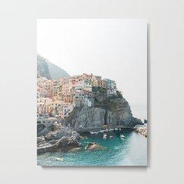 Little pastel houses on the hillside in Cinque Terre   Manarola, Italy   Fine Art Travel Print   Ama Metal Print