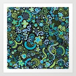 Avocado Navy Sky Blue Zendoodle Art Print
