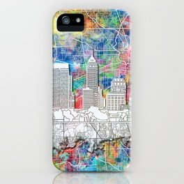 indianapolis city skyline watercolor iPhone Case