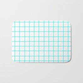 Grid (Aqua Cyan/White) Bath Mat