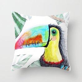 Rainbow Toucan Throw Pillow