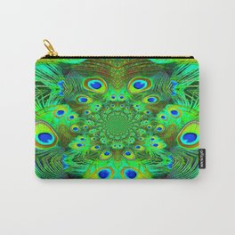 Ornate Green-Gold-Purple Peacock Feathers Art Carry-All Pouch