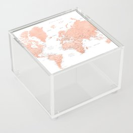 "Rose gold world map with cities, ""Hadi"" Acrylic Box"