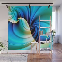 Part of a Wave (blue-cream) Wall Mural