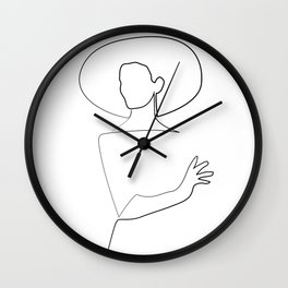 """""""Fashion Line Collection"""" - Minimal One Line Chic Woman Print Wall Clock"""