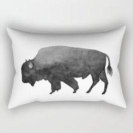 Charcoal Bison, Watercolor buffalo Rectangular Pillow