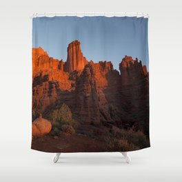 Sunset in Fisher Towers, Moab, Utah Shower Curtain