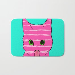 Neon Pink Striped Kitten Licking Her Nose With Aqua Background Bath Mat