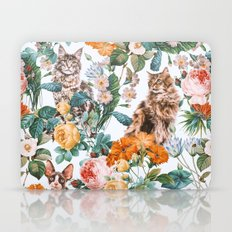 Cat and Floral Pattern III Laptop & iPad Skin